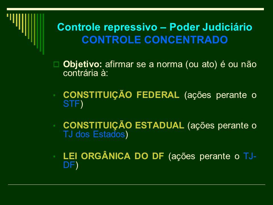 Controle repressivo – Poder Judiciário CONTROLE CONCENTRADO  Objetivo: afirmar se a norma (ou ato) é ou não contrária à: CONSTITUIÇÃO FEDERAL (ações perante o STF) CONSTITUIÇÃO ESTADUAL (ações perante o TJ dos Estados) LEI ORGÂNICA DO DF (ações perante o TJ- DF)
