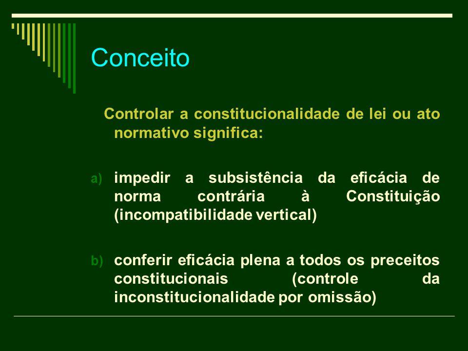 Conceito Controlar a constitucionalidade de lei ou ato normativo significa: a) impedir a subsistência da eficácia de norma contrária à Constituição (i