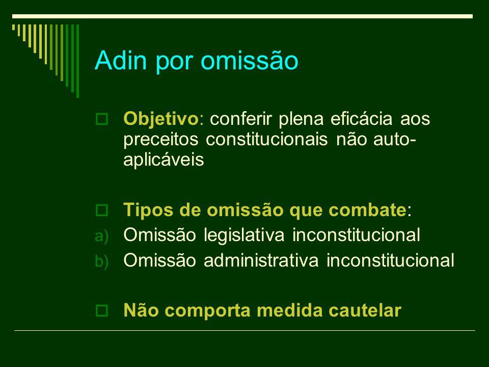 Adin por omissão  Objetivo: conferir plena eficácia aos preceitos constitucionais não auto- aplicáveis  Tipos de omissão que combate: a) Omissão leg