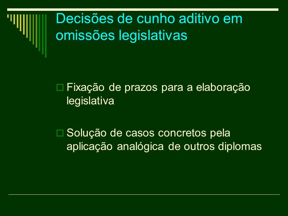 Decisões de cunho aditivo em omissões legislativas  Fixação de prazos para a elaboração legislativa  Solução de casos concretos pela aplicação analógica de outros diplomas