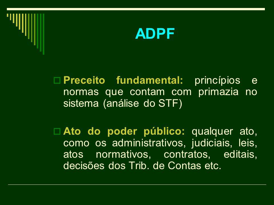 PPreceito fundamental: princípios e normas que contam com primazia no sistema (análise do STF) AAto do poder público: qualquer ato, como os administrativos, judiciais, leis, atos normativos, contratos, editais, decisões dos Trib.