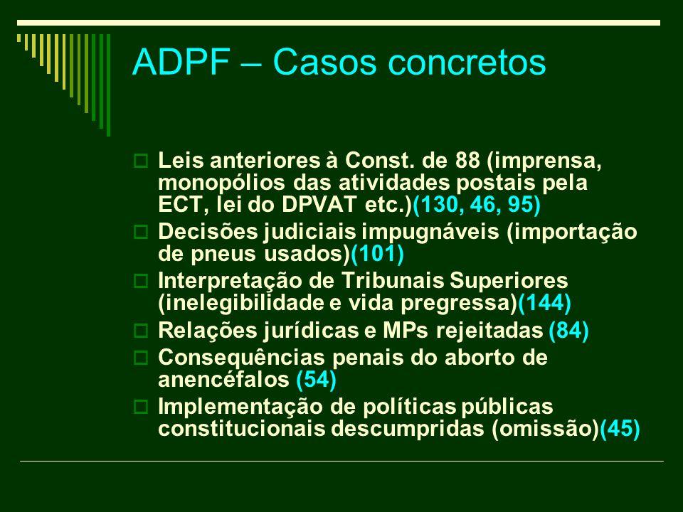 ADPF – Casos concretos  Leis anteriores à Const. de 88 (imprensa, monopólios das atividades postais pela ECT, lei do DPVAT etc.)(130, 46, 95)  Decis