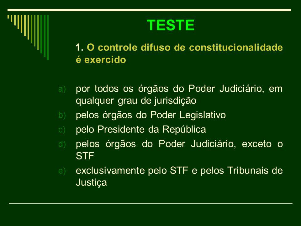 TESTE 1. O controle difuso de constitucionalidade é exercido a) por todos os órgãos do Poder Judiciário, em qualquer grau de jurisdição b) pelos órgão