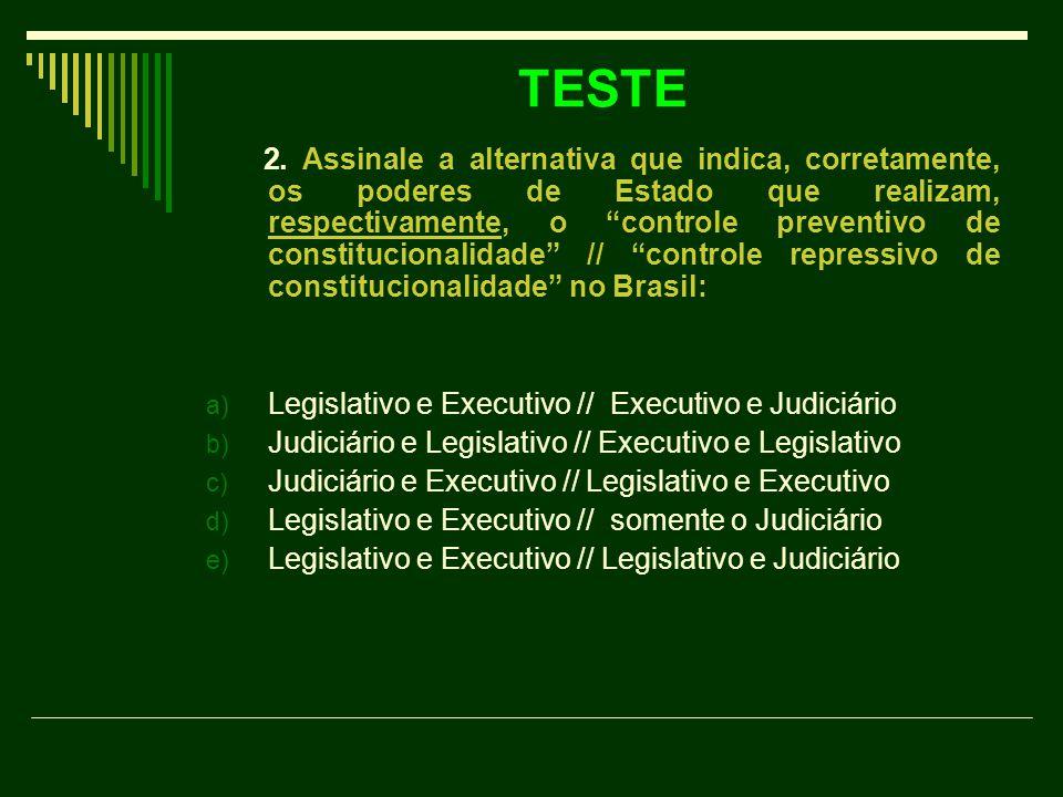 """TESTE 2. Assinale a alternativa que indica, corretamente, os poderes de Estado que realizam, respectivamente, o """"controle preventivo de constitucional"""