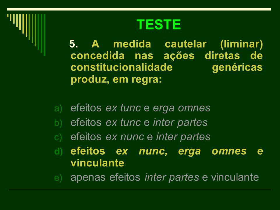 TESTE 5. A medida cautelar (liminar) concedida nas ações diretas de constitucionalidade genéricas produz, em regra: a) efeitos ex tunc e erga omnes b)