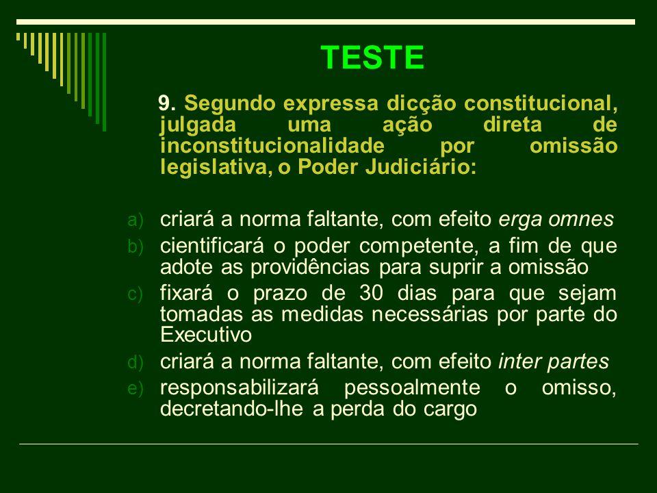 TESTE 9. Segundo expressa dicção constitucional, julgada uma ação direta de inconstitucionalidade por omissão legislativa, o Poder Judiciário: a) cria