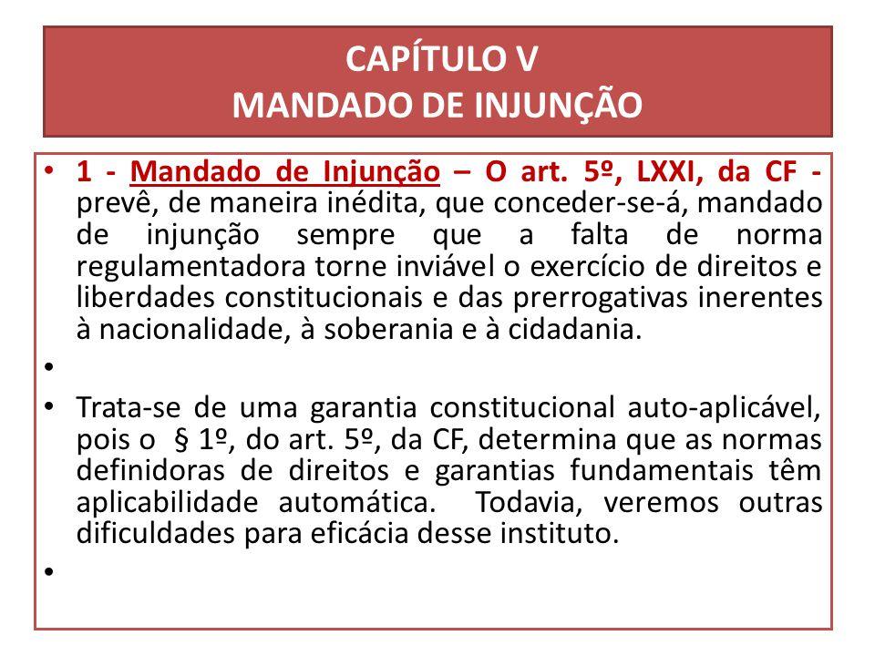 CAPÍTULO V MANDADO DE INJUNÇÃO 1 - Mandado de Injunção – O art. 5º, LXXI, da CF - prevê, de maneira inédita, que conceder-se-á, mandado de injunção se