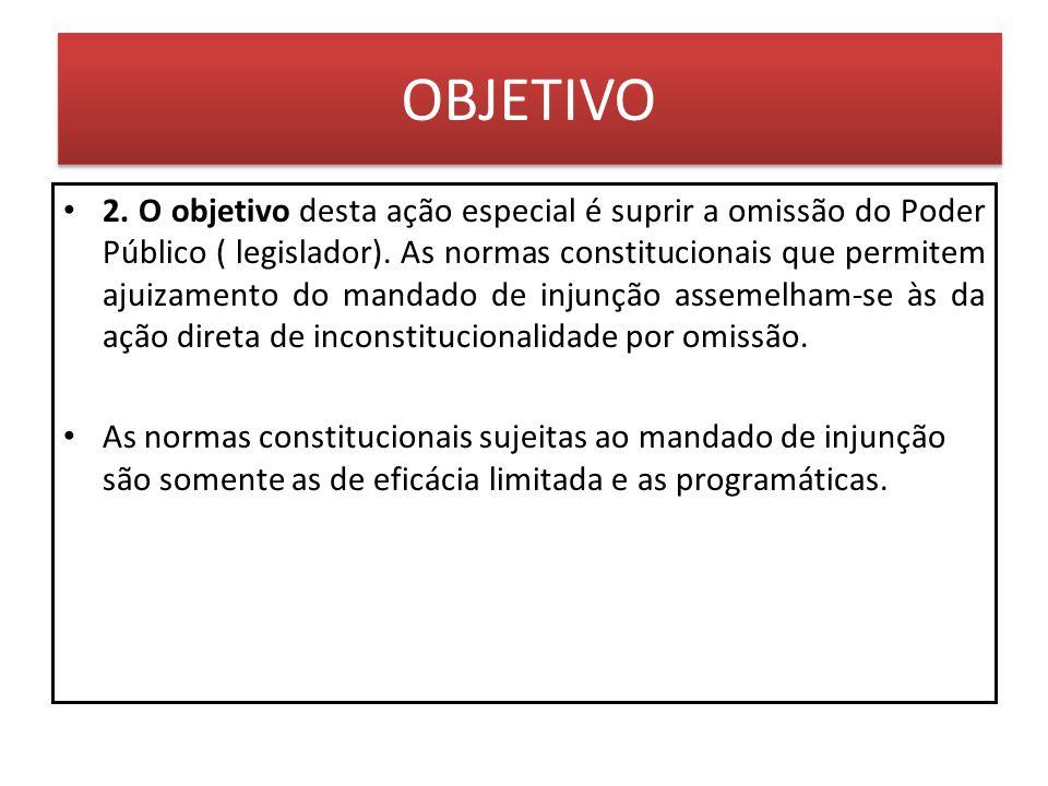 OBJETIVO 2. O objetivo desta ação especial é suprir a omissão do Poder Público ( legislador). As normas constitucionais que permitem ajuizamento do ma