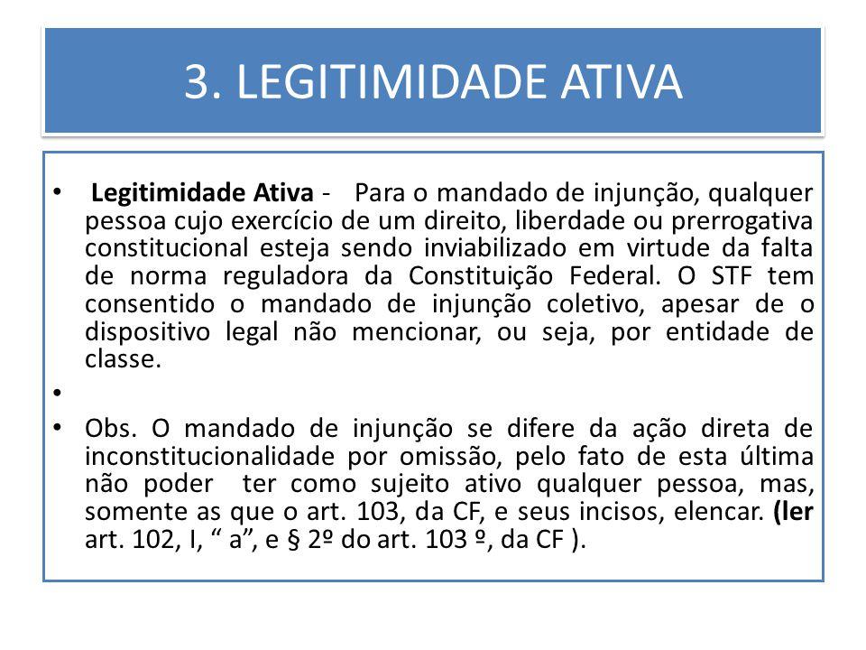 3. LEGITIMIDADE ATIVA Legitimidade Ativa - Para o mandado de injunção, qualquer pessoa cujo exercício de um direito, liberdade ou prerrogativa constit