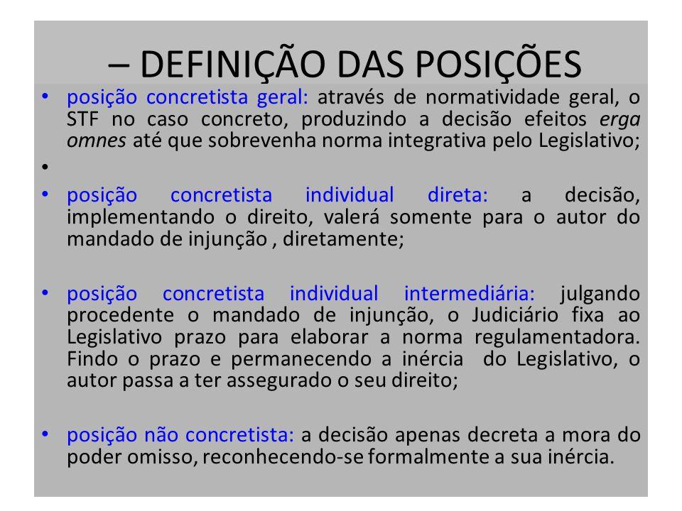 – DEFINIÇÃO DAS POSIÇÕES posição concretista geral: através de normatividade geral, o STF no caso concreto, produzindo a decisão efeitos erga omnes at
