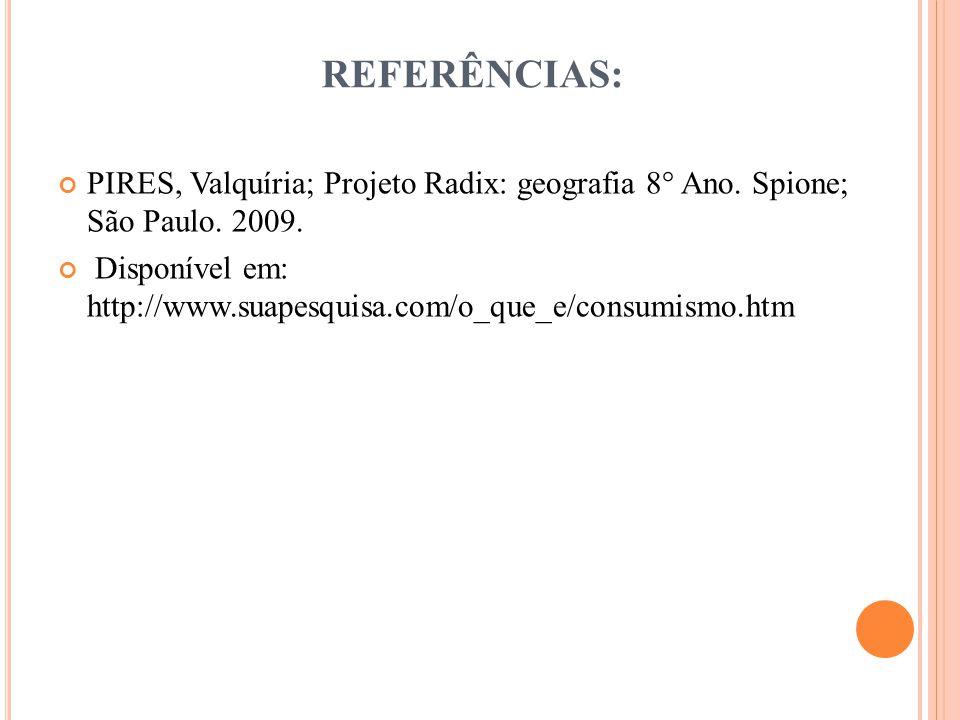 REFERÊNCIAS: PIRES, Valquíria; Projeto Radix: geografia 8° Ano.