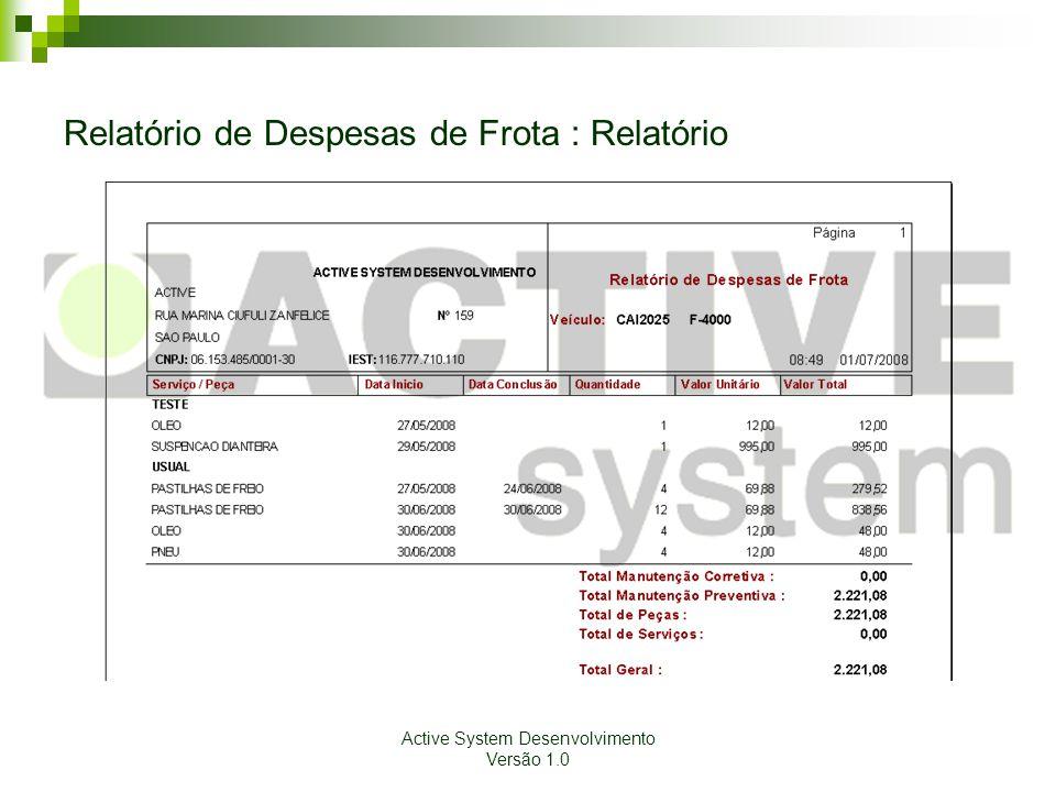 Active System Desenvolvimento Versão 1.0 Relatório de Despesas de Frota : Relatório