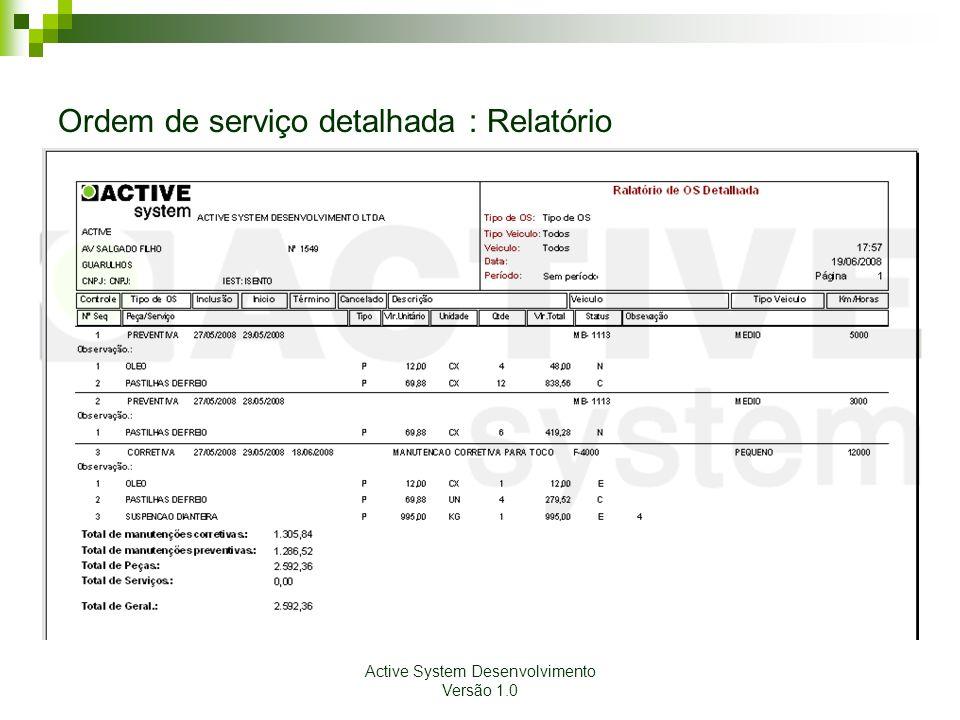 Active System Desenvolvimento Versão 1.0 Ordem de serviço detalhada : Relatório