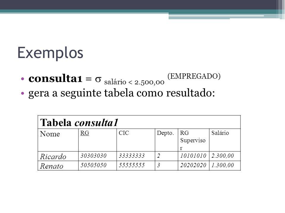 Exemplos consulta1 =  salário < 2.500,00 (EMPREGADO) gera a seguinte tabela como resultado: Tabela consulta1 Nome RGCICDepto.RG Superviso r Salário R