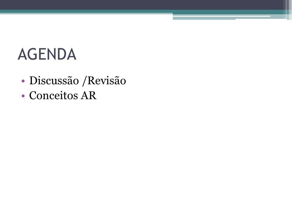 AGENDA Discussão /Revisão Conceitos AR