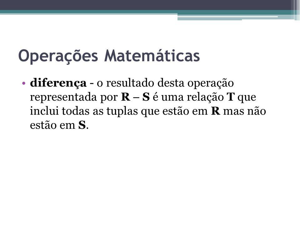 Operações Matemáticas diferença - o resultado desta operação representada por R  S é uma relação T que inclui todas as tuplas que estão em R mas não