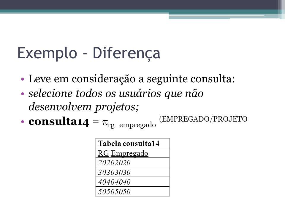 Exemplo - Diferença Leve em consideração a seguinte consulta: selecione todos os usuários que não desenvolvem projetos; consulta14 =  rg_empregado (E