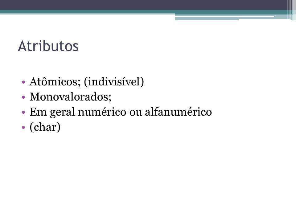 Atributos Atômicos; (indivisível) Monovalorados; Em geral numérico ou alfanumérico (char)