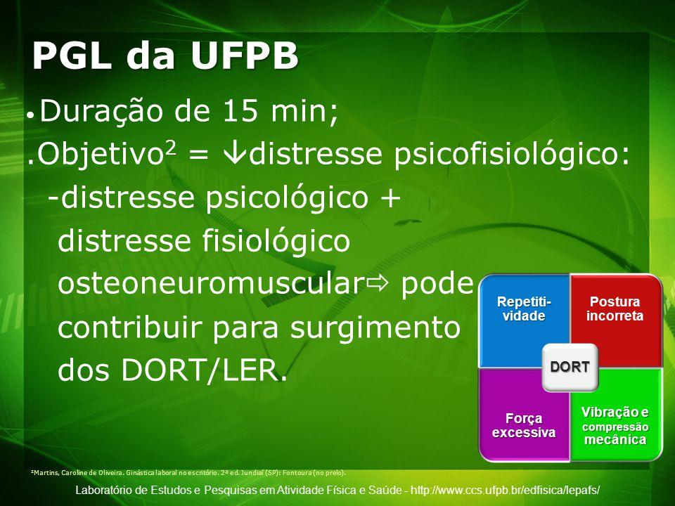 Laboratório de Estudos e Pesquisas em Atividade Física e Saúde - http://www.ccs.ufpb.br/edfisica/lepafs/ PGL da UFPB Duração de 15 min;.Objetivo 2 = 