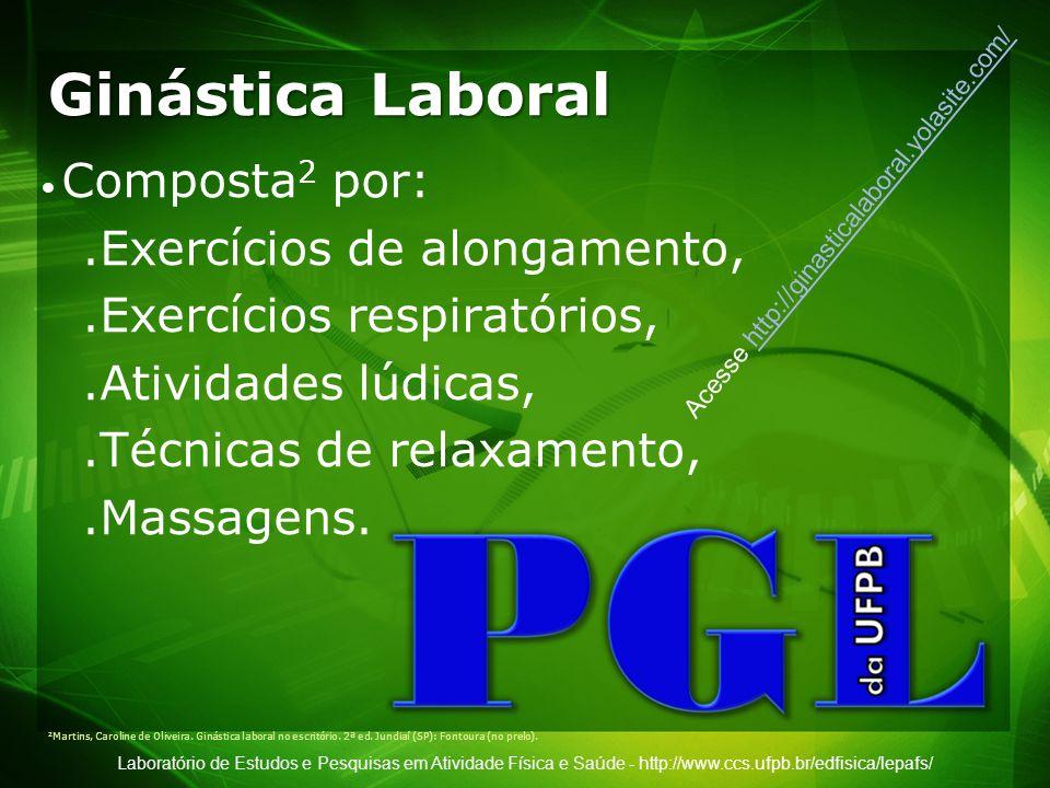 Laboratório de Estudos e Pesquisas em Atividade Física e Saúde - http://www.ccs.ufpb.br/edfisica/lepafs/ Ginástica Laboral Composta 2 por:.Exercícios
