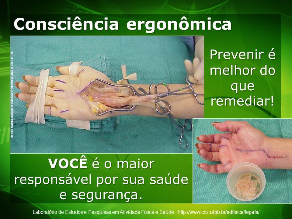 Laboratório de Estudos e Pesquisas em Atividade Física e Saúde - http://www.ccs.ufpb.br/edfisica/lepafs/ Consciência ergonômica http://mustreadfiles.blogspot.com/2008/08/correct-postures-and-exercises-for.html Prevenir é melhor do que remediar.