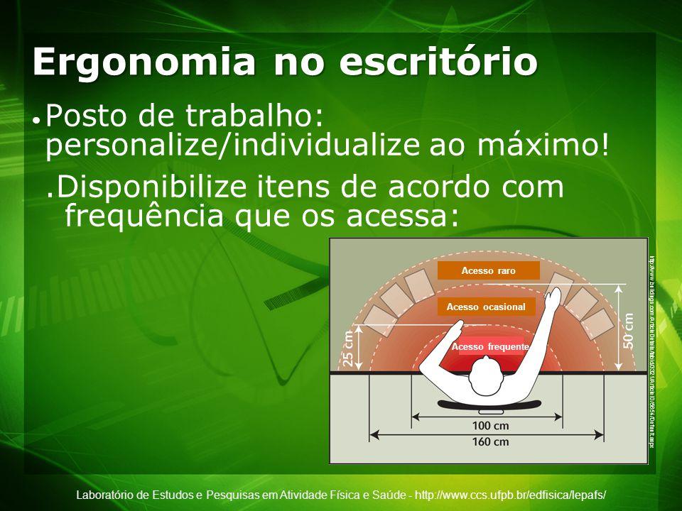 Laboratório de Estudos e Pesquisas em Atividade Física e Saúde - http://www.ccs.ufpb.br/edfisica/lepafs/ Ergonomia no escritório UFPB Fonte: Martins, C.O.