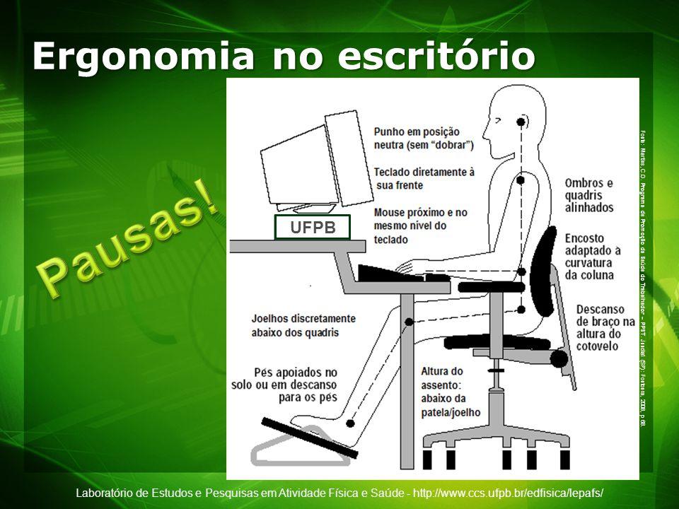Laboratório de Estudos e Pesquisas em Atividade Física e Saúde - http://www.ccs.ufpb.br/edfisica/lepafs/ Ergonomia no escritório UFPB Fonte: Martins,