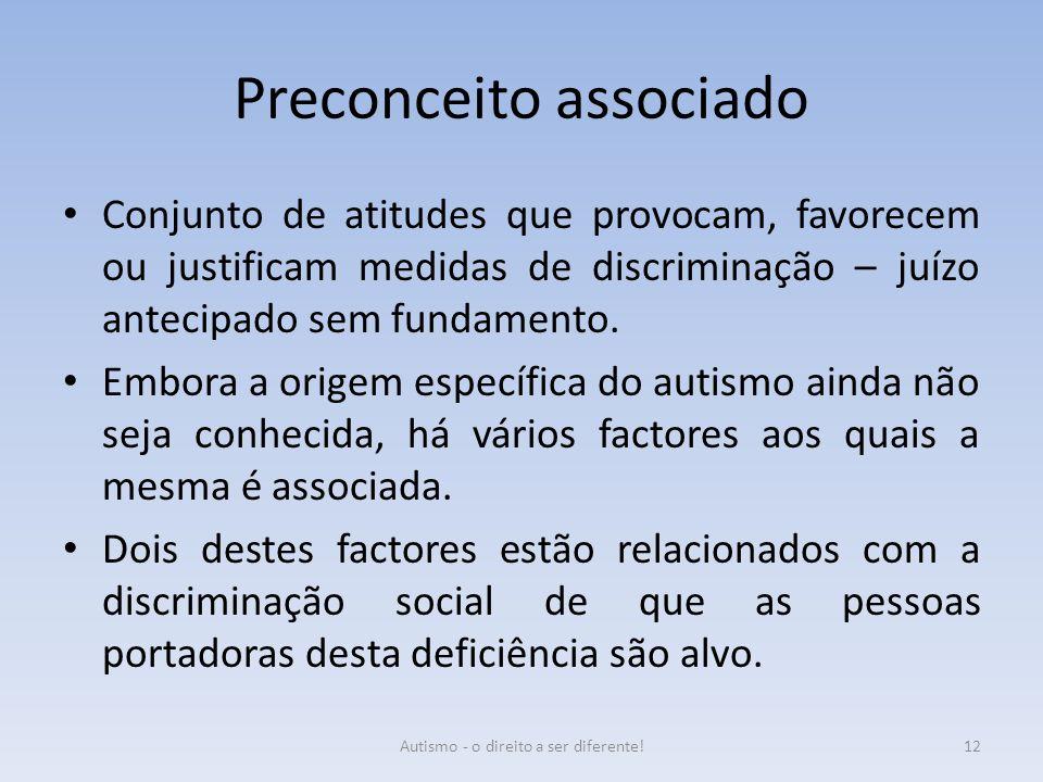 Preconceito associado Conjunto de atitudes que provocam, favorecem ou justificam medidas de discriminação – juízo antecipado sem fundamento. Embora a