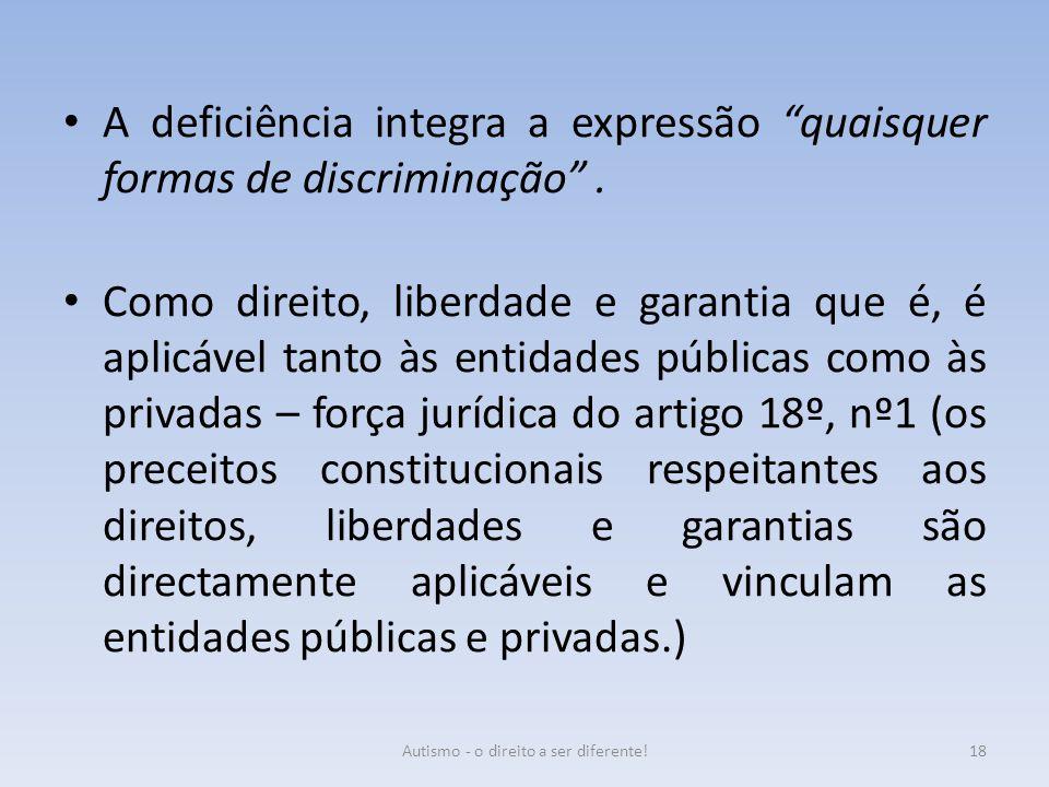 """A deficiência integra a expressão """"quaisquer formas de discriminação"""". Como direito, liberdade e garantia que é, é aplicável tanto às entidades públic"""