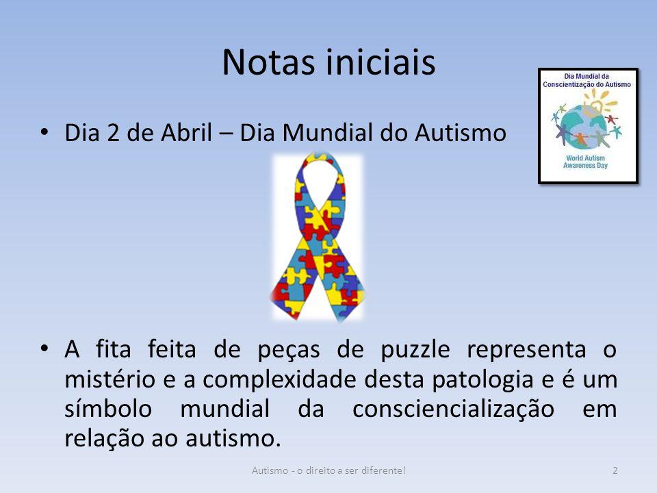 Notas iniciais Dia 2 de Abril – Dia Mundial do Autismo A fita feita de peças de puzzle representa o mistério e a complexidade desta patologia e é um s