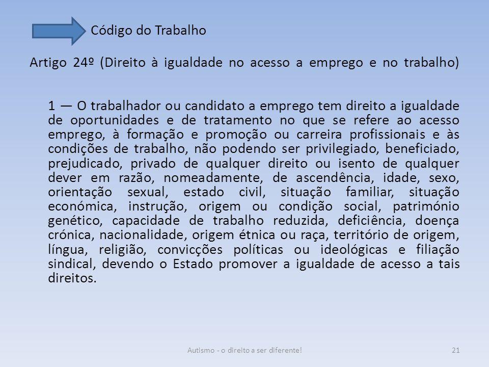Código do Trabalho Artigo 24º (Direito à igualdade no acesso a emprego e no trabalho) 1 — O trabalhador ou candidato a emprego tem direito a igualdade