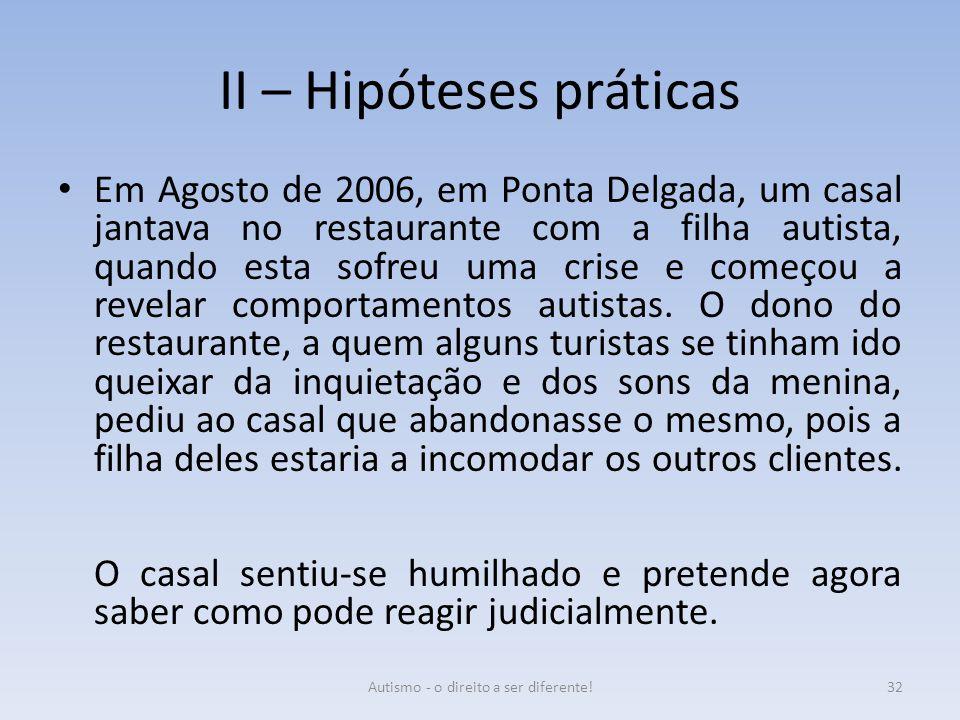 II – Hipóteses práticas Em Agosto de 2006, em Ponta Delgada, um casal jantava no restaurante com a filha autista, quando esta sofreu uma crise e começ