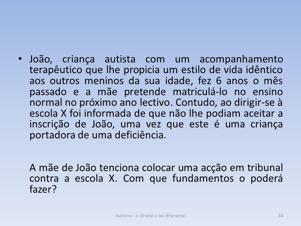 João, criança autista com um acompanhamento terapêutico que lhe propicia um estilo de vida idêntico aos outros meninos da sua idade, fez 6 anos o mês