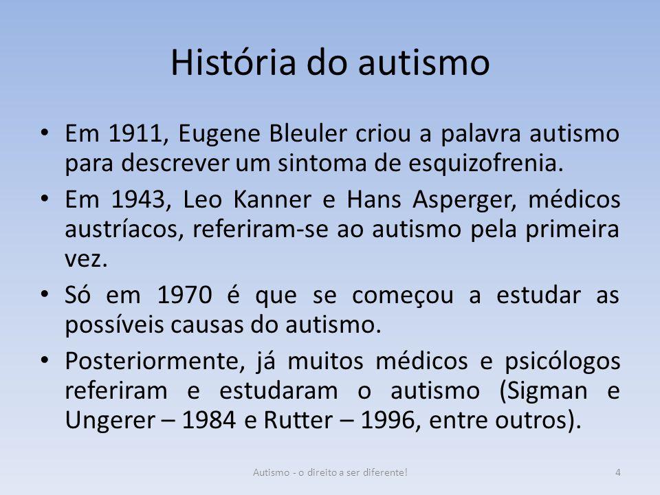 História do autismo Em 1911, Eugene Bleuler criou a palavra autismo para descrever um sintoma de esquizofrenia. Em 1943, Leo Kanner e Hans Asperger, m