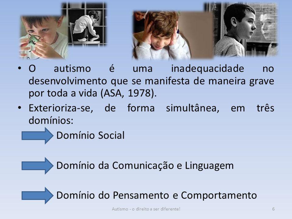 O autismo é uma inadequacidade no desenvolvimento que se manifesta de maneira grave por toda a vida (ASA, 1978). Exterioriza-se, de forma simultânea,