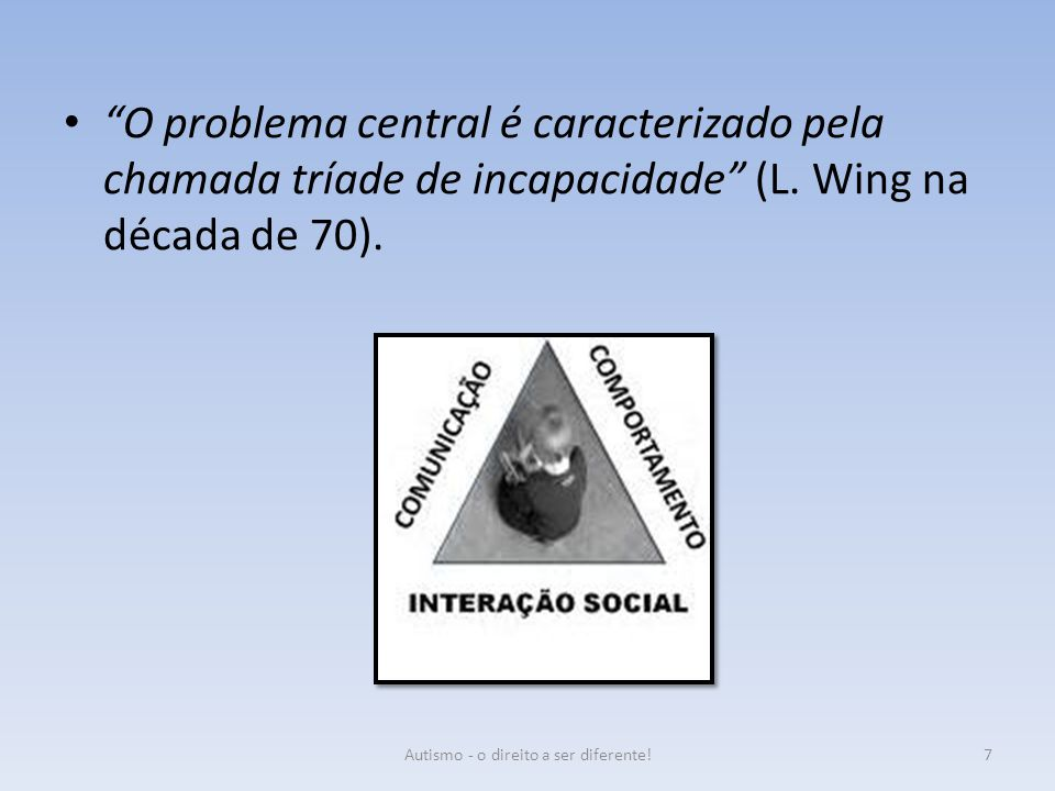 """O problema central é caracterizado pela chamada tríade de incapacidade"" (L. Wing na década de 70). 7Autismo - o direito a ser diferente!"