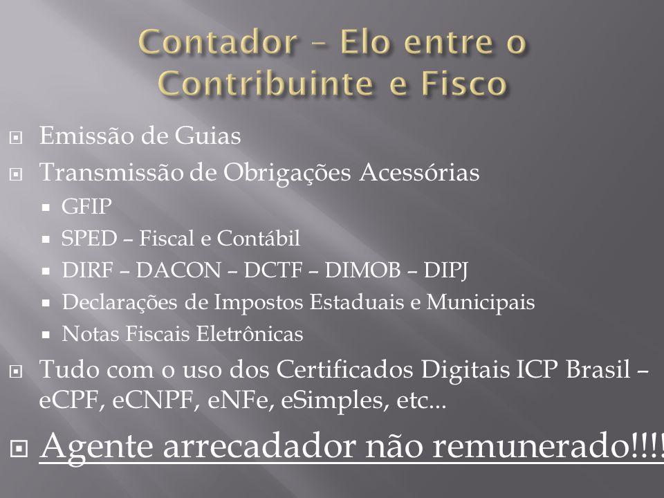  Emissão de Guias  Transmissão de Obrigações Acessórias  GFIP  SPED – Fiscal e Contábil  DIRF – DACON – DCTF – DIMOB – DIPJ  Declarações de Impostos Estaduais e Municipais  Notas Fiscais Eletrônicas  Tudo com o uso dos Certificados Digitais ICP Brasil – eCPF, eCNPF, eNFe, eSimples, etc...