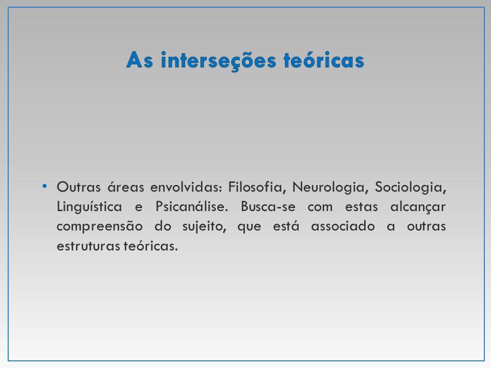 Outras áreas envolvidas: Filosofia, Neurologia, Sociologia, Linguística e Psicanálise. Busca-se com estas alcançar compreensão do sujeito, que está as