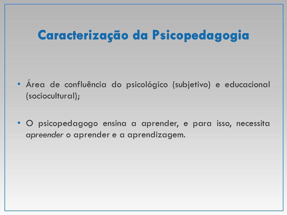 Área de confluência do psicológico (subjetivo) e educacional (sociocultural); O psicopedagogo ensina a aprender, e para isso, necessita apreender o ap