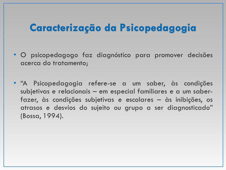 """O psicopedagogo faz diagnóstico para promover decisões acerca do tratamento; """"A Psicopedagogia refere-se a um saber, às condições subjetivas e relacio"""