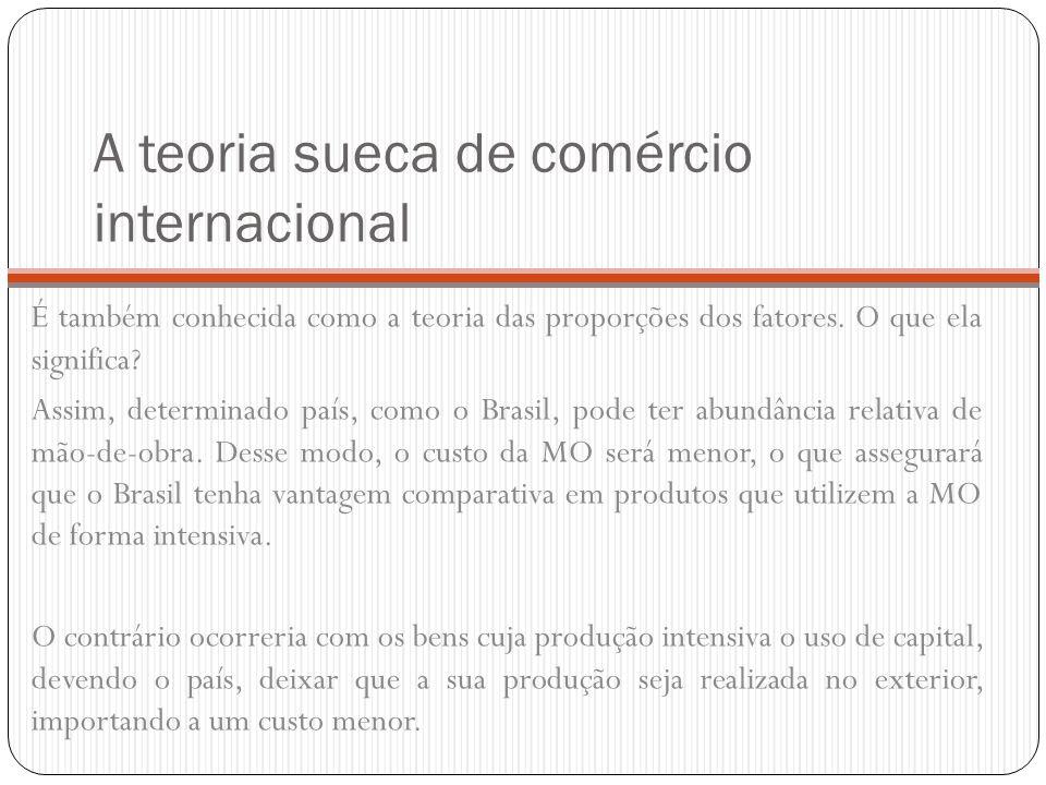 A teoria sueca de comércio internacional É também conhecida como a teoria das proporções dos fatores. O que ela significa? Assim, determinado país, co