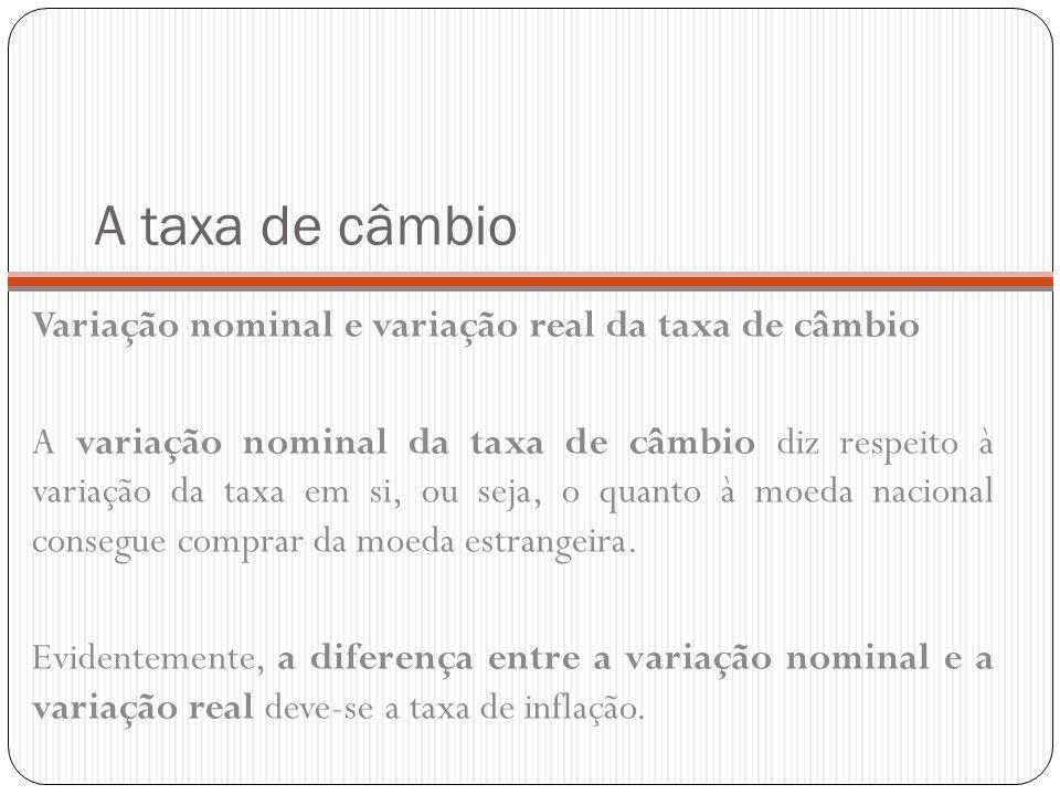 A taxa de câmbio Variação nominal e variação real da taxa de câmbio A variação nominal da taxa de câmbio diz respeito à variação da taxa em si, ou sej