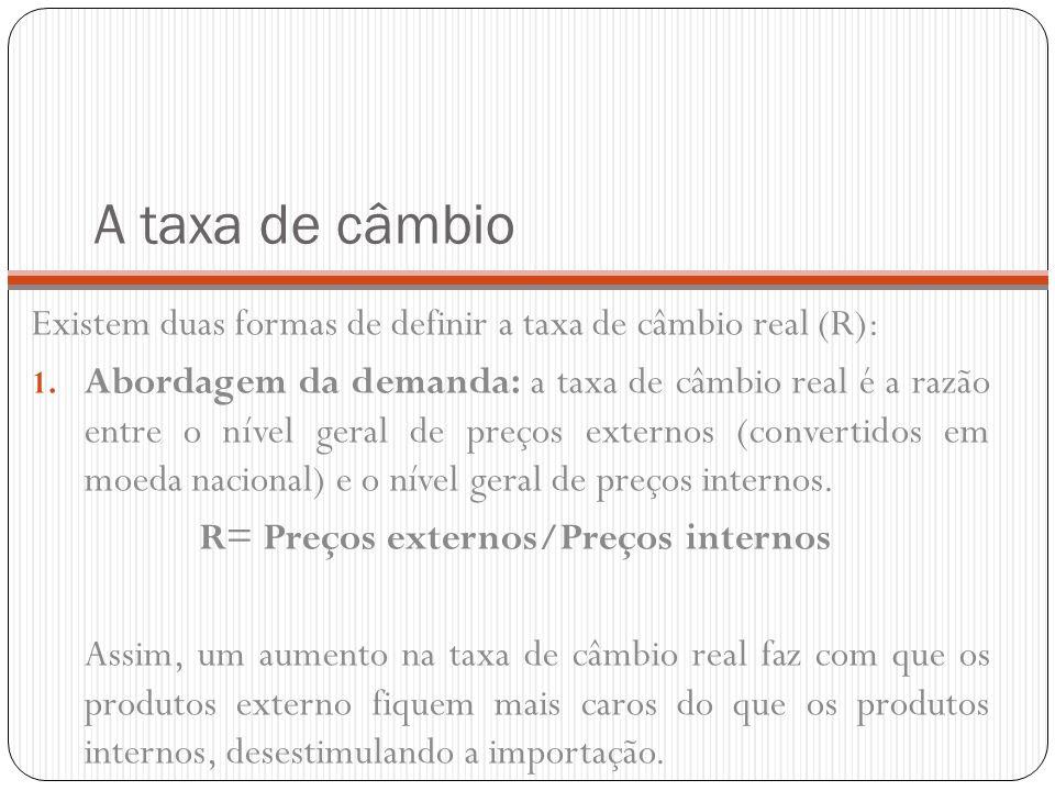 A taxa de câmbio Existem duas formas de definir a taxa de câmbio real (R): 1. Abordagem da demanda: a taxa de câmbio real é a razão entre o nível gera