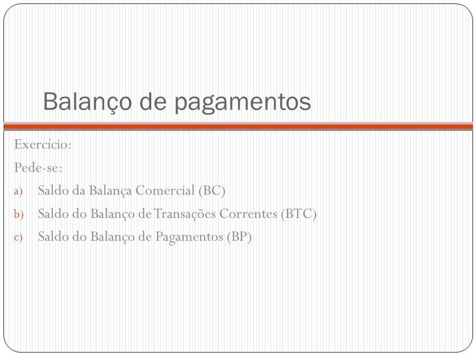 Balanço de pagamentos Exercício: Pede-se: a) Saldo da Balança Comercial (BC) b) Saldo do Balanço de Transações Correntes (BTC) c) Saldo do Balanço de