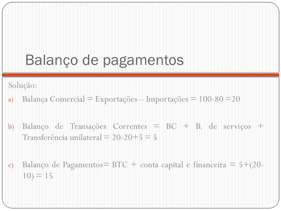 Balanço de pagamentos Solução: a) Balança Comercial = Exportações – Importações = 100-80 =20 b) Balanço de Transações Correntes = BC + B. de serviços