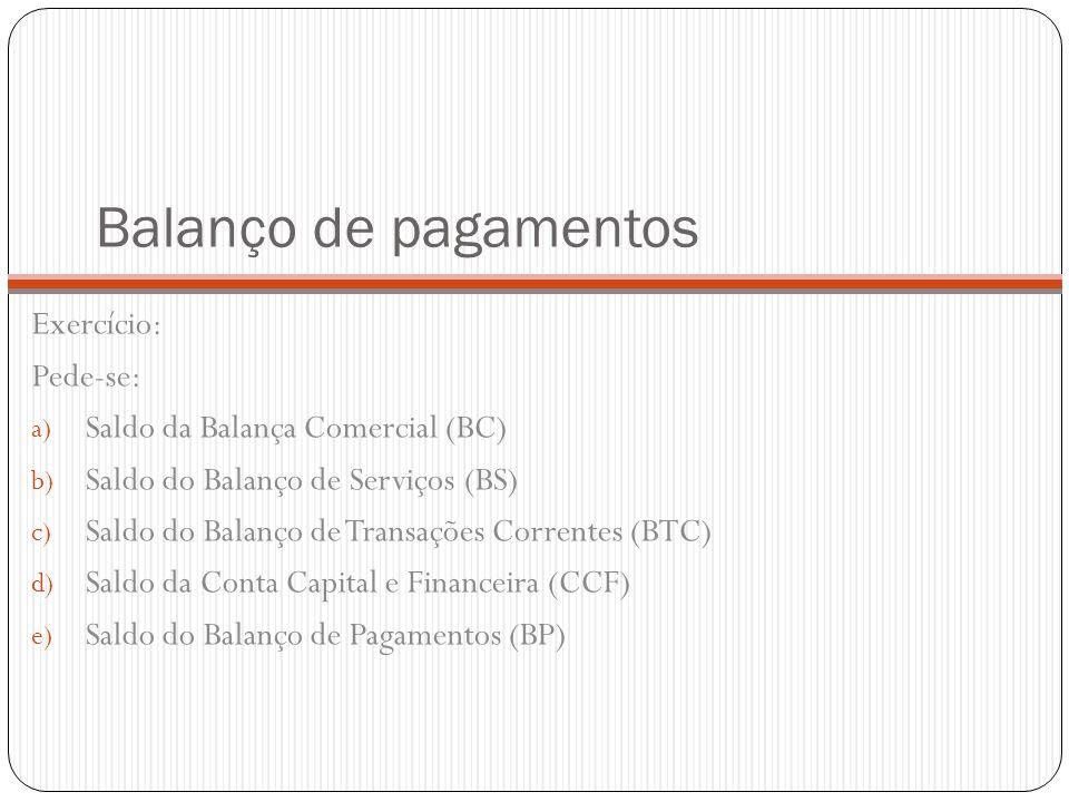 Balanço de pagamentos Exercício: Pede-se: a) Saldo da Balança Comercial (BC) b) Saldo do Balanço de Serviços (BS) c) Saldo do Balanço de Transações Co