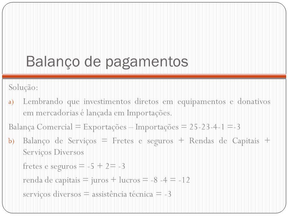 Balanço de pagamentos Solução: a) Lembrando que investimentos diretos em equipamentos e donativos em mercadorias é lançada em Importações. Balança Com