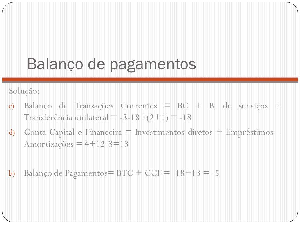 Balanço de pagamentos Solução: c) Balanço de Transações Correntes = BC + B. de serviços + Transferência unilateral = -3-18+(2+1) = -18 d) Conta Capita