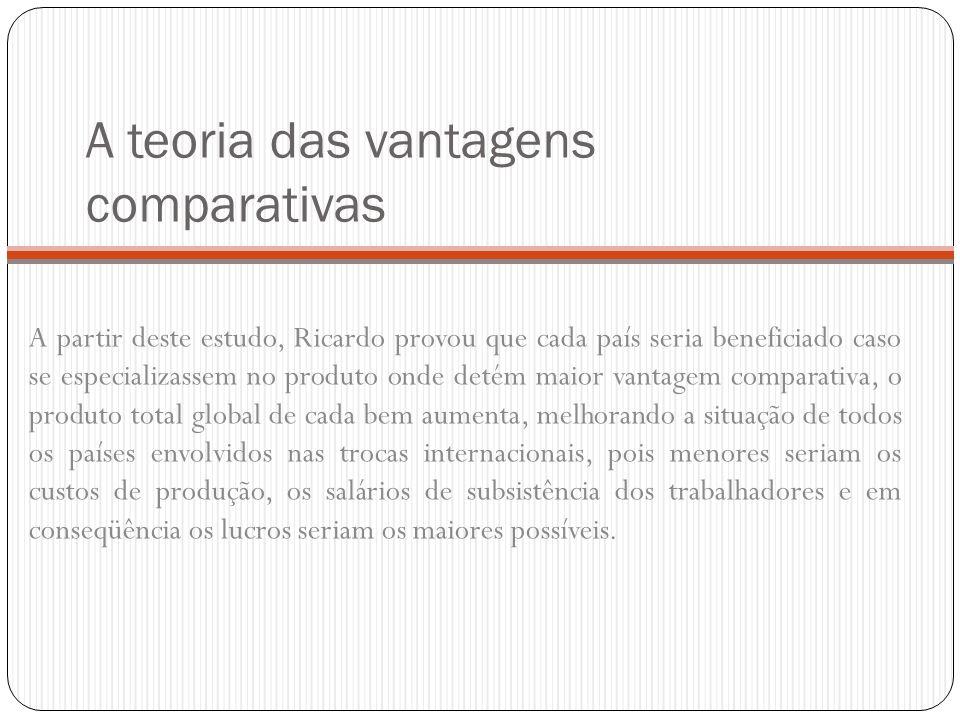 A teoria das vantagens comparativas A partir deste estudo, Ricardo provou que cada país seria beneficiado caso se especializassem no produto onde deté