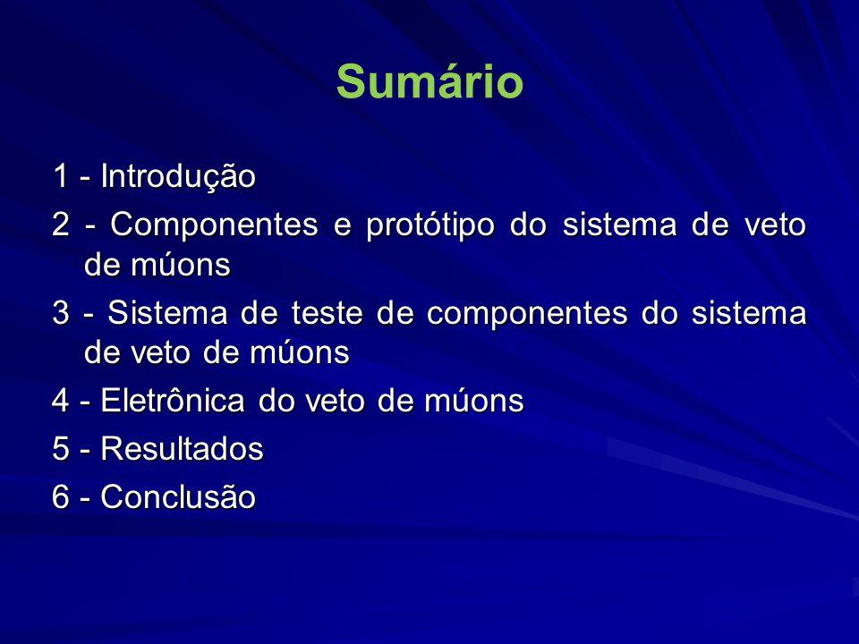 1 - Introdução Motivação: Contribuir para o Projeto Neutrinos Angra: detecção de antineutrinos em Angra II Múons cósmicos são fonte de ruído (1 múon/cm 2 s ao nível do mar), o que exige VETO.